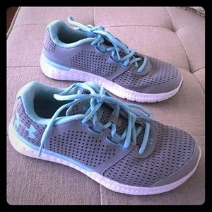 Under armour grey and teal shoes